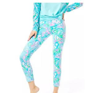 Lilly Pulitzer UPF 50+ Luxletic Weekender Legging Blue Ibiza Aqua La Vista M