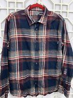 Eddie Bauer Blue Red Plaid Check Long Sleeve Flannel Cotton Shirt Check Men's XL