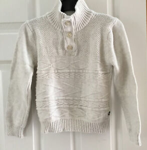 Nautica Boys Pullover Sweater In Size L/G (7)~Ivory Tweed~3 Button Neck Closure