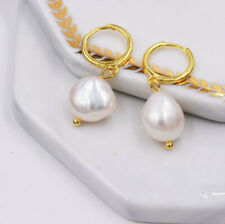 Natural Baroque Irregular Pearl Gems Yellow Gold Plated Silver Dangle Earrings