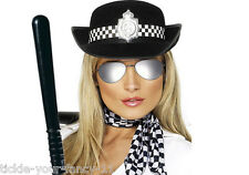 WOMENS POLICE WOMAN FANCY DRESS BATON SCARF GLASSES & HAT LADIES POLICEWOMAN COP