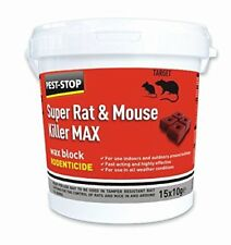 PEST STOP SUPER RAT MOUSE KILLER MAX  ALL WEATHER BIG 20G BLOCKS TUB OF 15