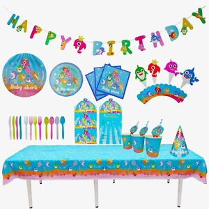 BABY SHARK BIRTHDAY DECORATION TABLE COVER PLATES BALLOON STRAW BANNER CUP TISSU