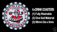 4 x ILLAWARRA STEELERS RUGBY FOOTBALL SUPPORTERS DRINK COASTERS - Re-usable