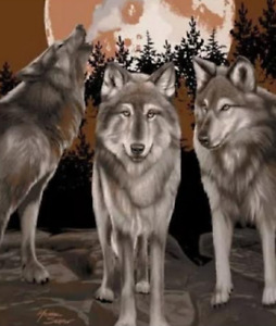 LARGE PACK OF WILD WOLVES WOLF 150x200cm THROW BLANKET FAUX MINK SUPERSOFT