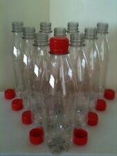 12 New Clear Empty Plastic PET Drinks Home Brew Crafts 500ml Bottles Screw Cap