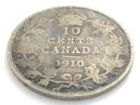 1910 Canada 10 Ten Cent Dime Circulated Edward VII Canadian Coin L396