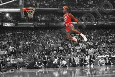 MICHAEL JORDAN CHICAGO BULLS AIR DUNK FROM FREE THROW LINE SPOTLIGHT 12X18 PHOTO