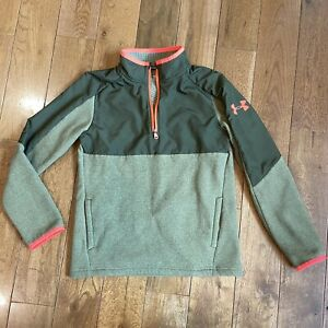 Boys Under Armour Coldgear 1/2 Zip Fleece Pullover Green Neon Pink Loose sz YMD