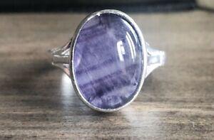 Rare Derbyshire Blue John Medium Oval Vintage Style Silver Ring Size Q J2018