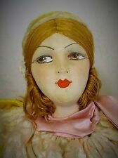 FABULOUS RARE FRENCH ART DECO BOUDOIR DOLL CUSHION WITH DEVORE VELVET COSTUME