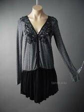 Black Gray Stripe Gothic Lolita Punk Grunge Top Tunic Jacket 119 ac Cardigan S