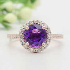 Purple Amethyst Round Stone Ring 14K Solid Gold Engagement Gift Ring GR420