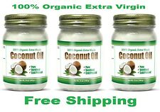 100% Organic Extra Virgin Coconut Oil Unrefined Cold Pressed Gluten Free 3 Pack