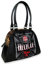Hotrod Hellcat EVIL GRAD Iron Cross LEO Fake Fur Bowler Bag Tasche Rockabilly