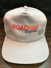 Vintage Light Gray Roadway Express Snapback Hat Safety Reflector Trucker Cap VGC