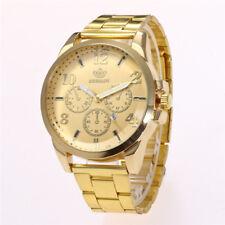 Sale Men Business Black/Gold Watch Round Fake Three Eyes Quartz Wristwatch
