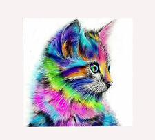 5D DIY Diamond Painting Colorful Cat Embroidery Cross Stitch Kit DIY Craft Decor