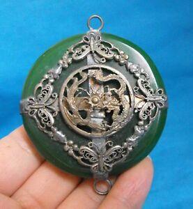 Rare Tibet Silver Green Jade Carved Dragon Phoenix Pendant