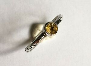 Silver posy ring with Citrine Stone French inscription Size O 1.7 grams