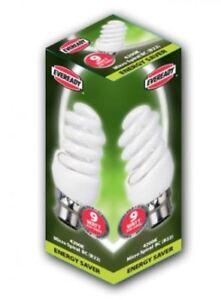 9W= 45W Bayonet BC CFL Energy Saving Spiral Light Bulb Cool White 4200K Eveready