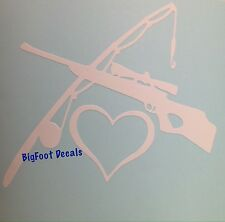 Sportsman Decal Crossed Fishing Pole Rifle And Heart Love Vinyl Car Boat Sticker