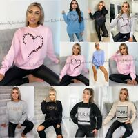 Women Paris Slogan Ala Mode Print Sweatshirt Ladies Oversized Sweater Jumper Top