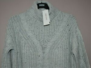 PER UNA CHUNKY CABLE KNIT ROLL NECK JUMPER GREY RELAXED FIT SIZE M 12-14 - BNWT