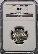 Mauritius - (1822) 50 Sous in NGC MS 64  RRR