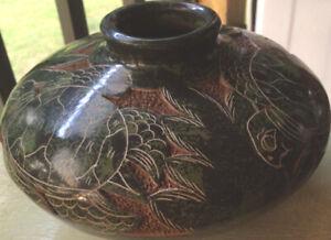 Vintage Darwin Calero Potosme Studio Green Vase Signed