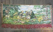 Antique Hunters on a Halt Wall Hanging Carpet Soviet Vintage Rare USSR 150x60 cm