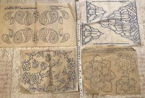 4 Vintage Embroidery / Needlework Sewing Iron-on Transfers - Rose, Paisley, Iris
