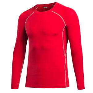 Men's Elastic Long Sleeve T-Shirt Running Training Athletic Tight Sportswear