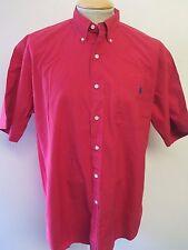 """Ralph Lauren Polo Men's rouge à manches courtes Chemise décontractée M 38-40"""" Euro 48-50"""