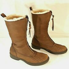 UGG Arquette Duck Style Boot Stout Brown Waterproof Leather Women's 8