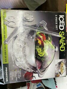 Salad Bowl with Lid and Utensils 5PC Cold Serving Dish Set with Ice Chamber