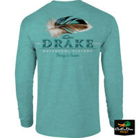 NEW DRAKE WATERFOWL SYSTEMS DUCK FEATHER LOGO L/S T-SHIRT TEE