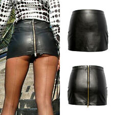 Sexy Solid Tight Short Faux Leather Straight Mini Skirt Dress Women Bodycon BY