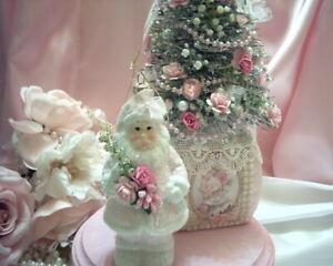 Shabby Victorian Cottage~SANTA Ornament~PINK~Roses~Glitter