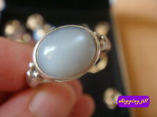 Pandora Large Cabochon Grey Moonstone Band Silver Ring Size 53 190156MSG Retired