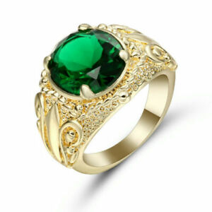US SELLER Luxury GREEN EMERALD SIMULATE Round YELLOW GOLD FILLED SIZE 7.5 Ring