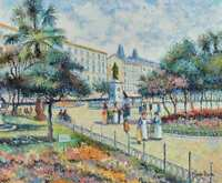 """H. CLAUDE PISSARRO """"Statue Osterman"""" FRAMED Oil Painting 33"""" x 30"""" Camille/Monet"""
