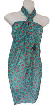 Green Orange Animal Print Sarong Pareo Scarf Wrap Swimsuit Cover Beachwear 36