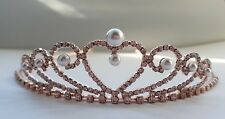Girls Flower Girl /holy communion crystal & Pearls Tiara Rose Gold Kids Size 125