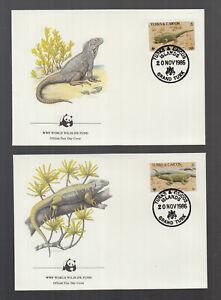 WWF 1986 Turks and Caicos / Turks and Caicos Iguana on 4 beautiful FDC