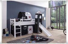 Spielbett Kinderbett Hochbett mit Rutsche Vorhang Turm + Weiss PIRAT