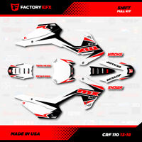 White & Red Crf110 Shift Racing Graphics kit fits Honda 2013-2018 decal 13-18