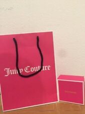 """Juicy Couture Pink Logo Gift Box Bag Set with tissue Brand New 3.5"""" x 3.5"""" x 2"""""""