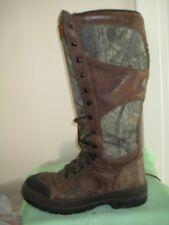 "18"" Leather + Camo Irish Setter Hunting Snake Boots 11.5EE WaterProof + Knife Sh"