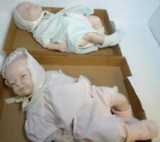 Pair Scioto Porcelain Boy Girl Doll Newborn Anatomically Correct 1985 646 647